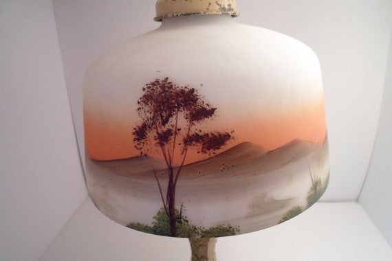 "Art Deco Reverse Painted Glass Lamp Iron Base Cottage Chic 23"" Hand Painted Sunset Trees Mountains  not a Reproduction Office Boudoir lamp"