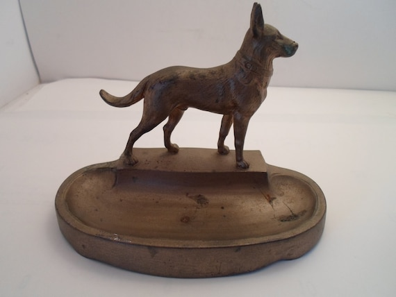 Vintage Signed Art Deco Dog Desk Top Pen Tray Heavy Metal German Shepard Type Man's Best Friend Dresser tray Pin tray Decorator choice