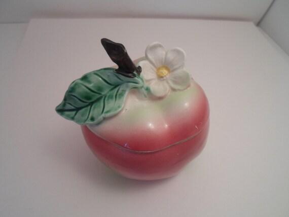 Vintage Ceramic Apple Covered Sugar Bowl Jelly Jam Jar Honey Pot with Spoon Slot