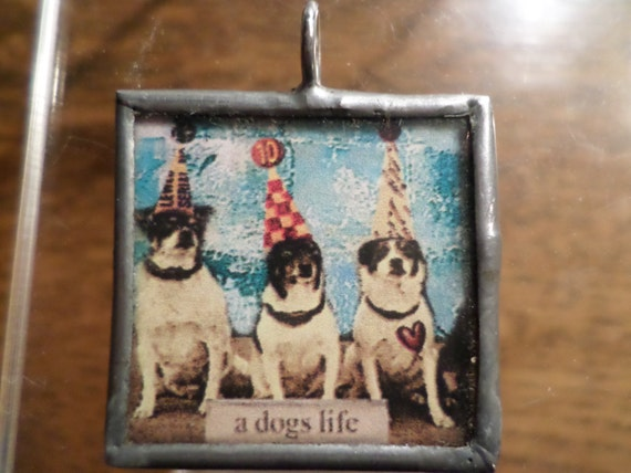 leaded glass vintage dogs, a dogs life, heart beat at my feet,  black and white photos in leaded frame pendant handmade