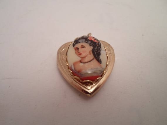Vintage Adorable Portrait Heart Shaped Photo Picture Locket French Lady Marie Antoinette Look Unusual Domed Design