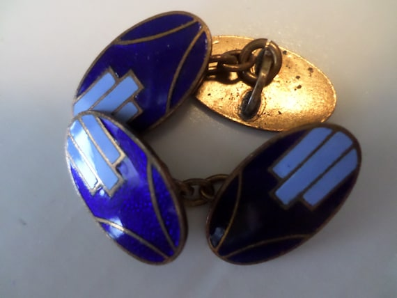 Vintage Art Deco Cobalt blue enameled classic chain cufflinks