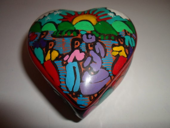 Vintage Hand Painted Heart Shape Folk Art Trinket Ring Box Mexican Day of Dead Style Texas Art Valentine Gift Ready