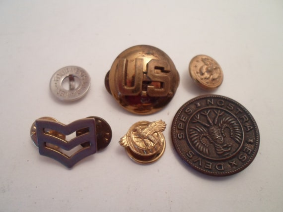 Antique 6  Military Related Buttons Pin Backs USA Eagles Stripes Brass Cute Lot Re Purpose or Collect