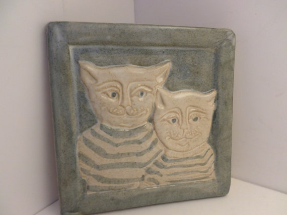 Vintage tile Kuihema signed tile popa & son cats in streped shirts