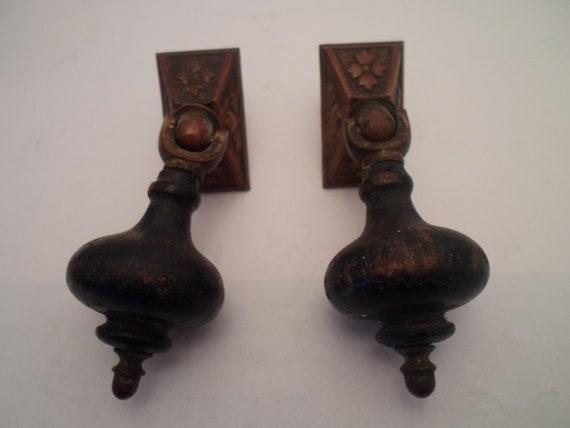 Antique Victorian Eastlake 2 Tear Drop Drawer Pulls Furniture Hardware Original Not a Reproduction
