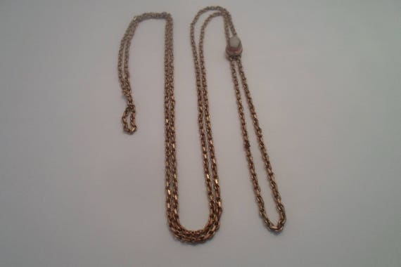 "Antique Ladies Pocket Watch Slide Chain 24""beveled link with Shell Cameo Slide Gold plated/Brass very good Vintage Find Art Nouveau"