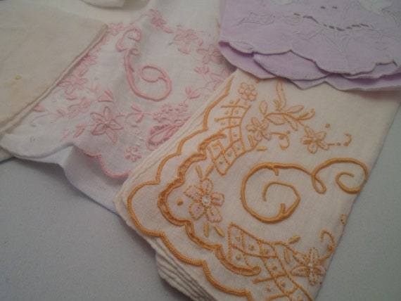 Antique Vintage Lot of Embroidered Initialed Hankies and Tea Towels Linen Cotton Beauties As found