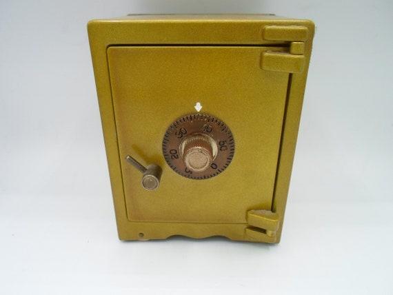 Vintage Safe Bank Metal Combination Vault Inspired Design 4 Metal Wheels