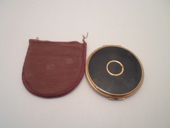 Vintage Original 1960's Charles of the Ritz Powder Compact Enamel Brass Mirror Very Good Condition Vanity Purse Item