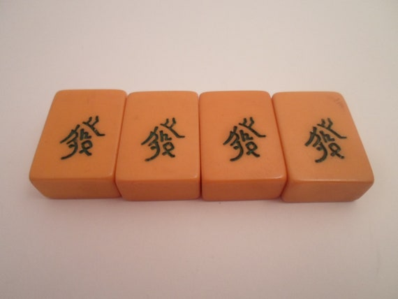 Antique 4 Mahjong Butterscotch and Green Symbols Bakelite Game Tiles All Matching  for Jewelry Making or Collection