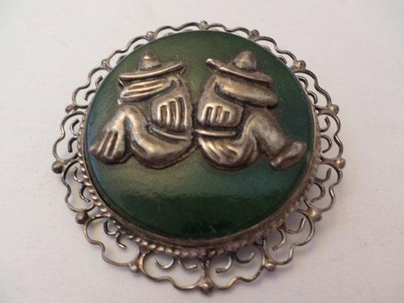 Vintage 50's Mexican Jade Mexicans siesta brooch pendant JE hallmark Sterling