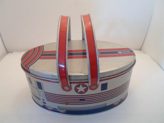 Vintage Art Deco Zephyr Railroad Train Car Metal Tin Litho Lunch Box with Handles Decoware