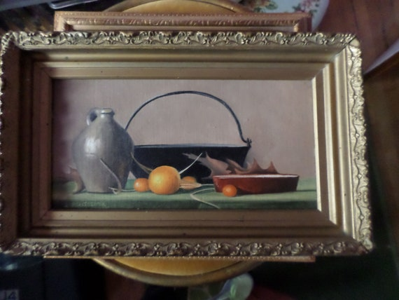 Beautiful Original oil on canvas board 1987 J Robitschek still life oranges cast iron pot jug