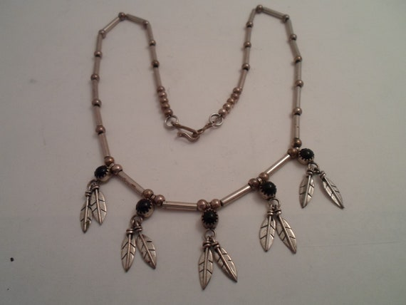 """Vintage Sterling Silver Zuni Indian Necklace Feathers Onyx Beads Hand Made Detail Road Side Stand 19""""long Delicate Feathers 1""""long"""