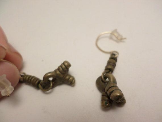 Rare Old Peul W. African brass bead earrings Vintage artesian