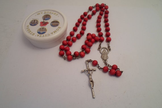 Vintage Red Stained Wood Rosary Precious Blood of Jesus Symbol Rome Italy Gothic Christian Blood Red Rouge