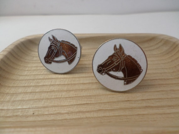 "vintage 1"" equestrian horse enameled cufflinks 70s 80s riding"
