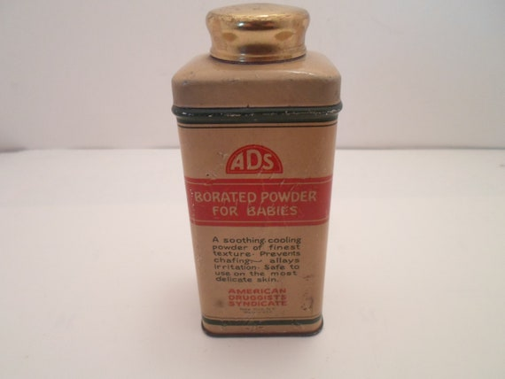 Art Deco Original Borated Powder for Baby Tin American Druggist Syndicate New York Beautiful condition Full of Powder