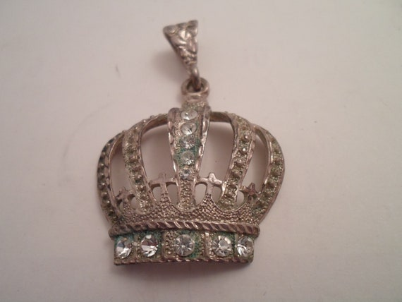 Antique Vintage Convex Sterling Silver Hand Made Crown Regal Pendant Queen Monarch Rhinestones Crosses Art Deco Royalty