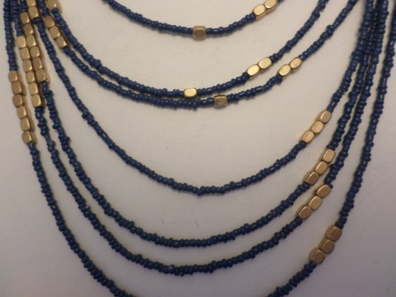 90's vintage multi layer beaded neclace foil gold and sea blue beads sexy bohemian chic