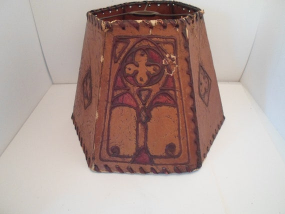 Antique Original Art Deco Arts and Crafts Faux Leather Lamp Shade Sealing Wax Drip Rare Mission Style