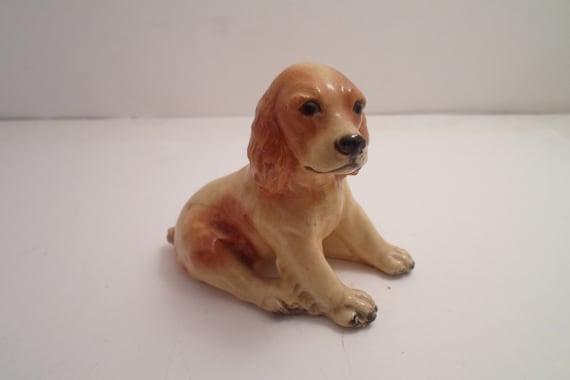 Morten's Studio Sitting Spaniel Puppy Dog 1950's Man's Best Friend Adorable Loving Animal Signed Very Good Holiday gift
