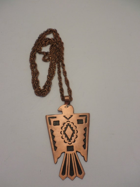 Vintage Copper bell Copper thunderbird necklace Mid-Century Modern Indian