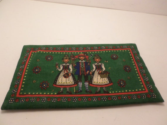 Vintage Kolf Austrian German Folk Art cloth wallet coupon holder