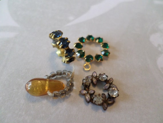 """4 pieces of antique and vintage jewelry, detailed unique embellishments all .5"""" sweet! charms, rhinestones, enameled..."""