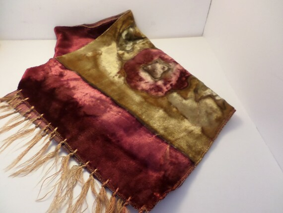 vintage 70's table runner velvet with cranberry and gold and sage with light brown details overdyed or tie dye bohemian