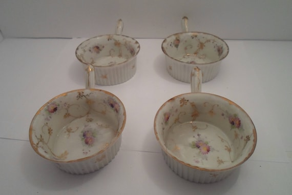 Antique Semi Translucent  Porcelian Hand Painted Gold Leaf Ramekins with Handles French or German Oven to Table Farmhouse Cottage Chic