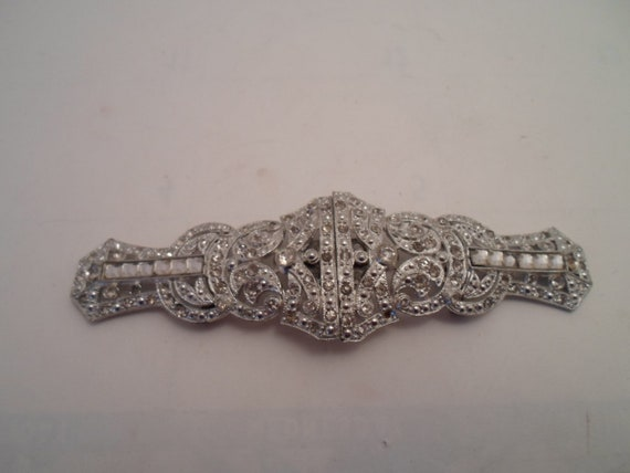 Antique Art Deco Original Rhinestone Long Belt Clip Stunning Design for Wedding Bridesmaid Prom or Cocktail Dress Chic Design