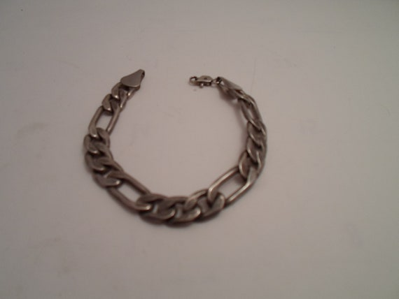 Vintage Heavy Chain Link Sterling Silver Bracelet Marked 925 Chunky Industrial Valentine Gift Flat link Rugged and Cool