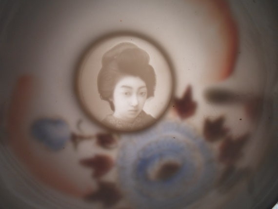 Vintage Moriage painted Geisha Lithophane Porcelain Tea Set 15 pieces Each Cup with Litho Post WWII Made in Japan Stunning