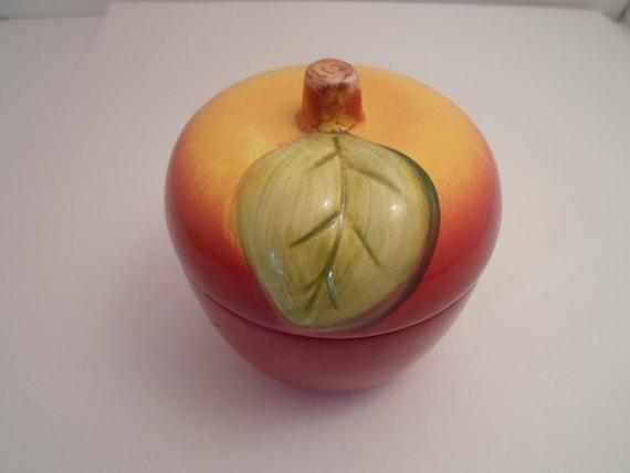 Vintage Ceramic Apple Peach Covered Bowl Jelly Jam Jar Honey Pot