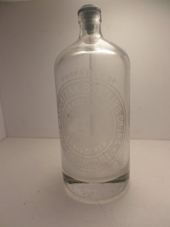 Vintage 30's Manhattan Bottle Co. Chicago seltzer bottle As-Is nozzle top deco horse