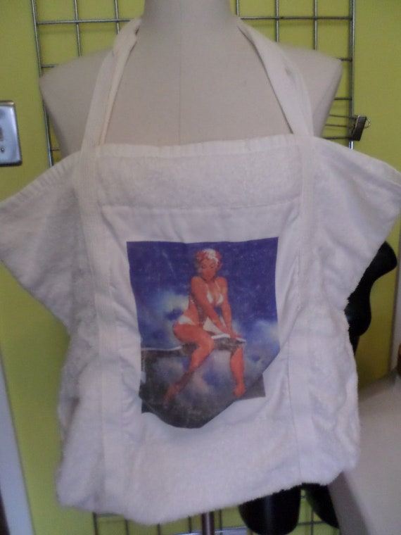 90's terry cloth beach bag with cute vintage 50's Pin-Up SO CUTE!