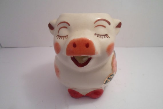 """Antique Vintage Shawnee Smiley Pig Pitcher with Gold Trim excellent condition 5"""" Milk or Cream Farm to Table Ready Hard to Find Eyebrows"""