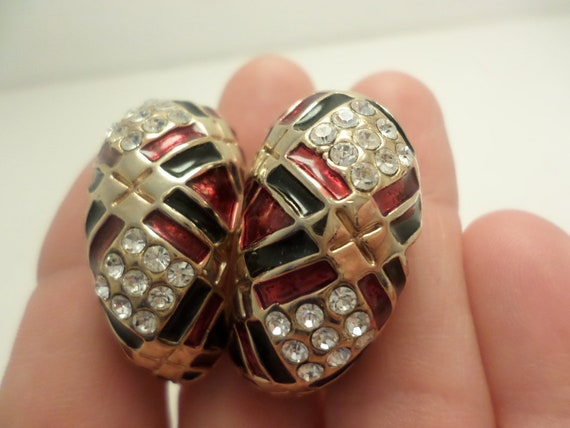 vintage 90's clip earrings black and red neo deco with crystals