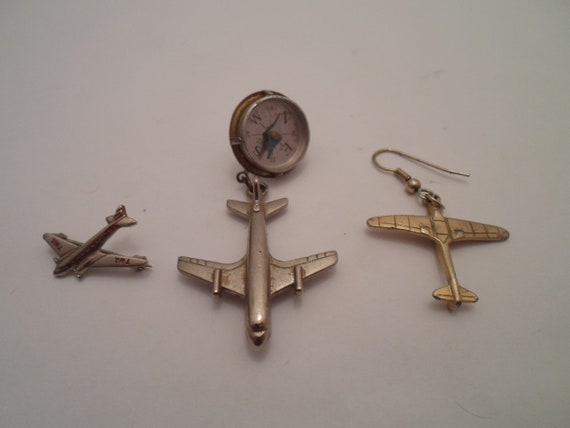 Vintage 3 Aeronautical Aircraft items Earring TWA Pin Pinback with Compass Flying Buff Pilot Cool Airplanes