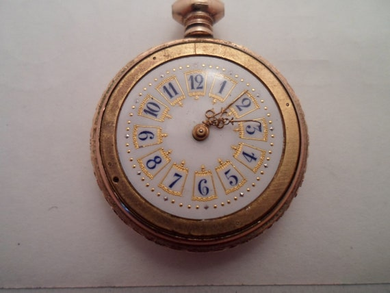 Antique 10k Gold Filled Ladies Pocket Watch Illinois Watch Co USA  Beautiful Porcelain Face Etched Case Initialed