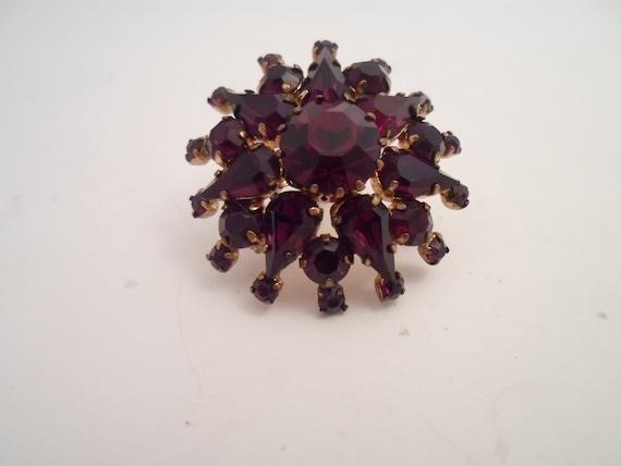 Antique Vintage Bohemian Garnet Brooch Pin Stunning Starburst Victorian Edwardian Style Chic Design