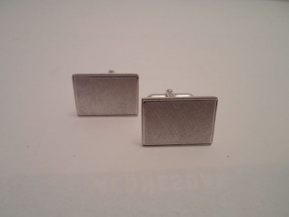 Vintage Mid Century Brushed Silver French Cuff Links Great 60's Era Simple Design