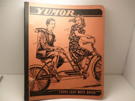 Vintage 1940's Loose leaf paper clip folder YUMOR with fantastic 1940's pictures