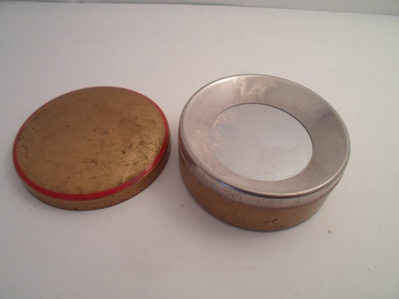 """Antique Art Deco Powder Case Compact with Auto Loose Powder Dispenser 3"""" Metal Case and Lid Hard To Find Item Vanity Chic"""
