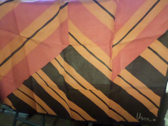 Vintage Vera Neuman silk scarf vibrant orange and hot pink with brown geometric pattern MCM Mod