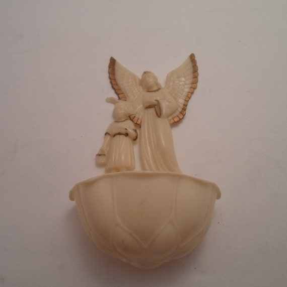Vintage Post WWII Era Catalin hard plastic Guardian Angel Holy Water Font Angel Child Made in USA Hartland Wisc. Spiritual Christian