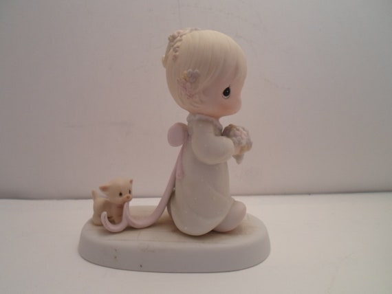 Vintage Precious Moments Figure Wedding Flower Girl and Kitty Cat Sharing Our Joy Together 1983 Samuel Butcher Artist