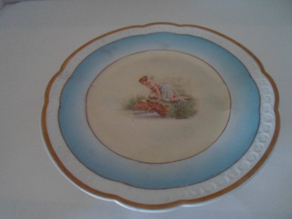Antique Mythical Pixie Woman at Lake Bavarian Plate Winged Woman Scant Flowing Robe Dress Rare Marked Crossed Swords and Crown Hand Painted
